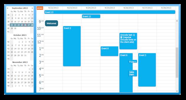 ASP NET MVC Event Calendar | DayPilot for ASP NET MVC