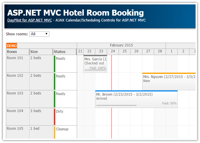 Tutorials daypilot for asp net mvc calendar scheduler for Hotel booking design