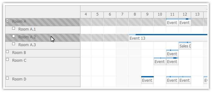 scheduler for asp.net mvc row selecting
