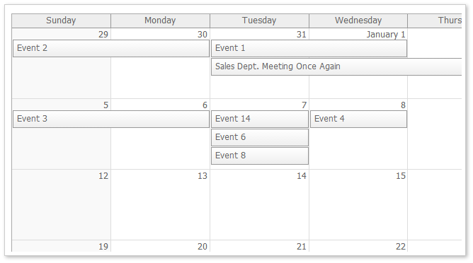 monthly event calendar default css theme