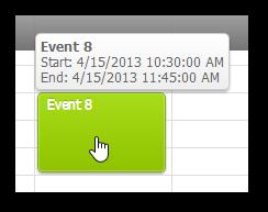 event calendar animated bubble popup