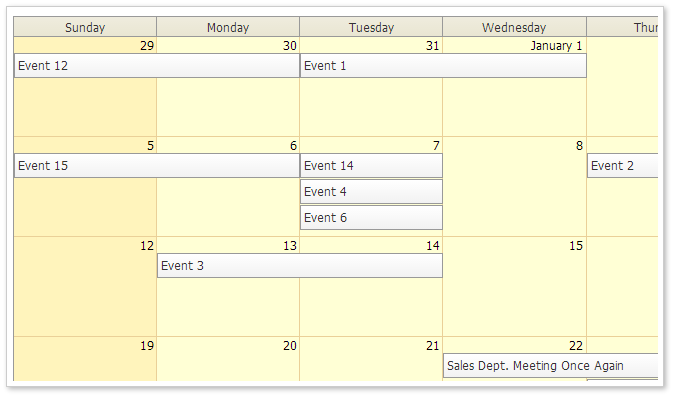 monthly event calendar traditional css theme
